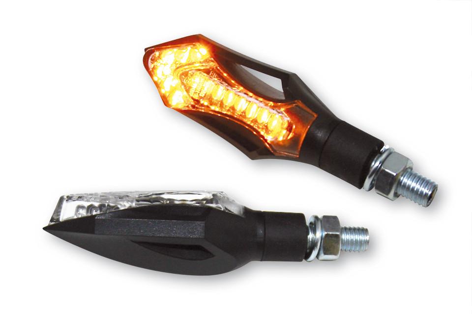 Blinker SHIN YO LED-Blinker HATCH, schwarzes Gehäuse